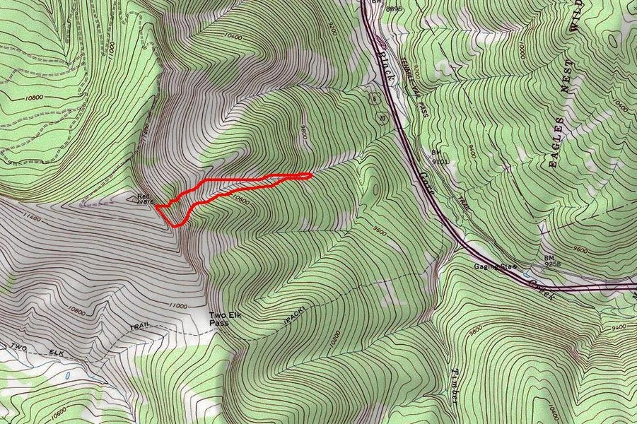 <b>Figure 10:</b> Topo map showing approximate boundaries for the 1-7-2014 avalanche in East Vail. (<a href=javascript:void(0); onClick=win=window.open('https://caic-production.imgix.net/0u0omnpjat3k023zw6iovgref1iy?ixlib=php-3.1.0&s=e00e45540dcd9fe607ab5238cd1d11a6','caic_media','resizable=1,height=820,width=840,scrollbars=yes');win.focus();return false;>see full sized image</a>)