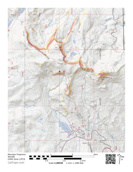 <b>Figure 1:</b> The map shows the location of a snowmobile-triggered avalanche that occurred on December 11, 2016 near Rabbit Ears Pass in the Steamboat zone. (<a href=javascript:void(0); onClick=win=window.open('https://caic-production.imgix.net/1yokfoayua38y3b634xnzxd978ld?ixlib=php-3.1.0&s=8aa00972598bb2a274d5a7ad0306d306','caic_media','resizable=1,height=820,width=840,scrollbars=yes');win.focus();return false;>see full sized image</a>)