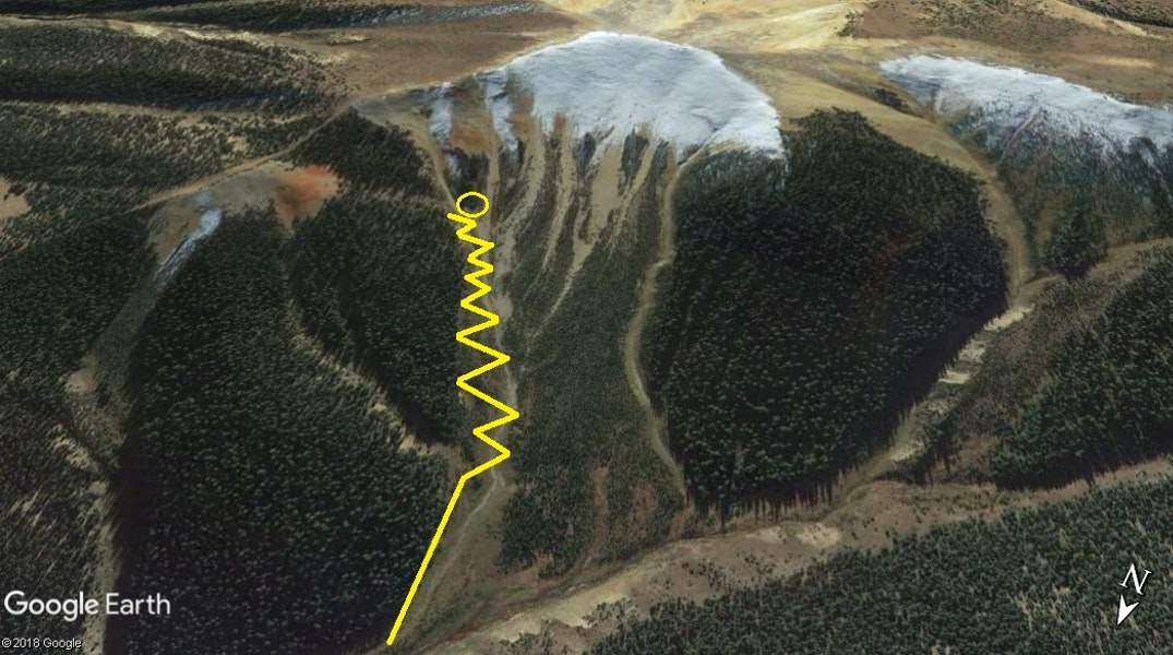 <b>Figure 4:</b> The yellow lines show the group's approximate ascent route before the avalanche. (<a href=javascript:void(0); onClick=win=window.open('https://caic-production.imgix.net/23vn3qhv2gk3e28uy9gmizt2ti4o?ixlib=php-3.1.0&s=0036dfe4114d10c3c2b5a9843da75db4','caic_media','resizable=1,height=820,width=840,scrollbars=yes');win.focus();return false;>see full sized image</a>)