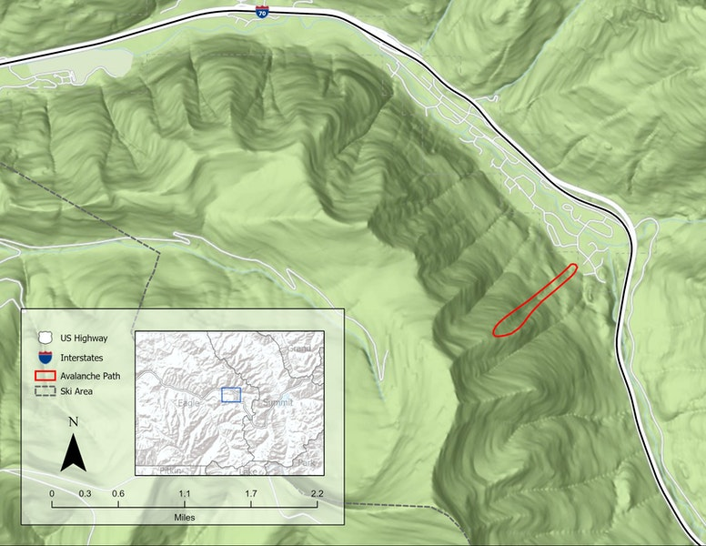<b>Figure 3:</b> The avalanche occurred in the avalanche path highlighted in red. It is a northeast-facing below treeline slope with a few open meadows and sparse trees. (<a href=javascript:void(0); onClick=win=window.open('https://caic-production.imgix.net/2vd9ncd45b6ip7g520iu7663reep?ixlib=php-3.1.0&s=5e8d4452959257a15e71e53ed6811550','caic_media','resizable=1,height=820,width=840,scrollbars=yes');win.focus();return false;>see full sized image</a>)