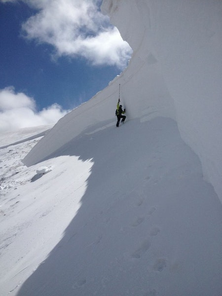 <b>Figure 8:</b> A CAIC forecaster investigates the crown face of the avalanche. It was 12 feet tall at its highest point and composed of very hard snow along the skier's left (west) side. (<a href=javascript:void(0); onClick=win=window.open('https://caic-production.imgix.net/36wet6oe4glzaq99z0yiptjl3bte?ixlib=php-3.1.0&s=4cda51c174081f22446d61beaed35dd0','caic_media','resizable=1,height=820,width=840,scrollbars=yes');win.focus();return false;>see full sized image</a>)