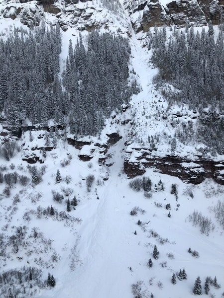 <b>Figure 2:</b> This image shows the avalanche debris in the lower portion of the runout area. Bear Creek February 19, 2019 (<a href=javascript:void(0); onClick=win=window.open('https://caic-production.imgix.net/3if3nr8net9xk2ga35uhhy1v4wlt?ixlib=php-3.1.0&s=c290c7d320a7042bee7aefe0ae8ed026','caic_media','resizable=1,height=820,width=840,scrollbars=yes');win.focus();return false;>see full sized image</a>)