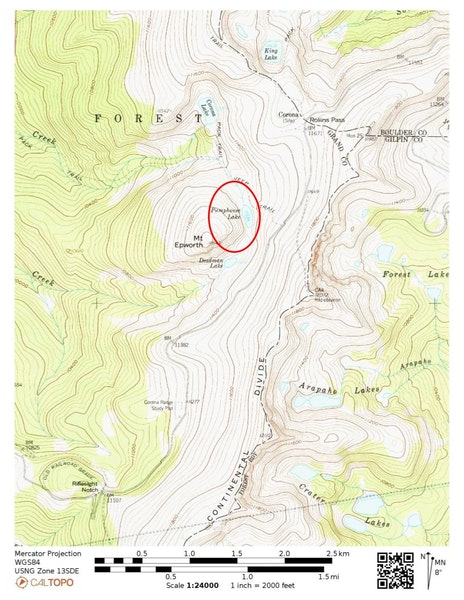 <b>Figure 1:</b> A topographic map of the accident area. The avalanche occurred in the area indicated by the read oval. (<a href=javascript:void(0); onClick=win=window.open('https://caic-production.imgix.net/3suk13hx097h3v1ryw01plbz3cwf?ixlib=php-3.1.0&s=c786a7e998b0da746b1ee4711eb3f8c4','caic_media','resizable=1,height=820,width=840,scrollbars=yes');win.focus();return false;>see full sized image</a>)