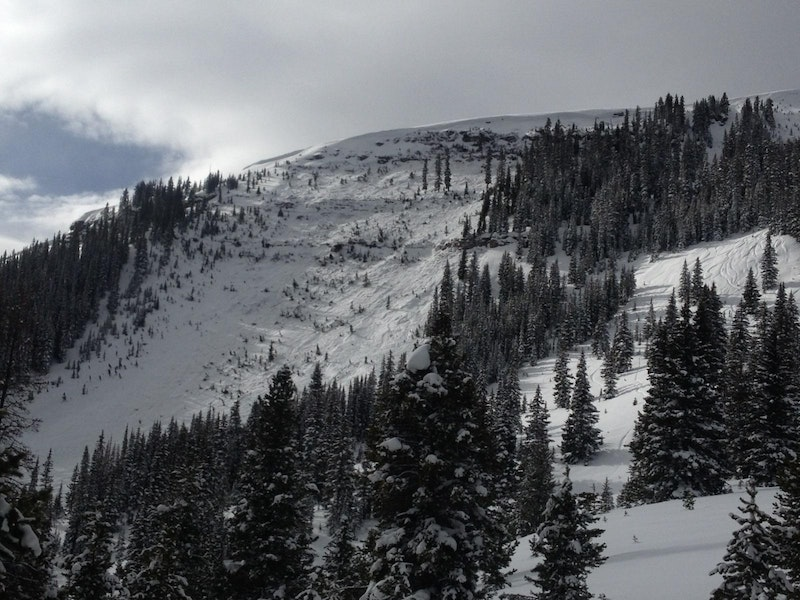 """<b>Figure 6:</b> Photo taken from top of """"Tele Line"""" about 10 minutes after avalanche (<a href=javascript:void(0); onClick=win=window.open('https://caic-production.imgix.net/46onromozuyjvmh2o0p4qcjvqw9x?ixlib=php-3.1.0&s=33ddbbbcdcadf77fcdd82415b03a93bd','caic_media','resizable=1,height=820,width=840,scrollbars=yes');win.focus();return false;>see full sized image</a>)"""