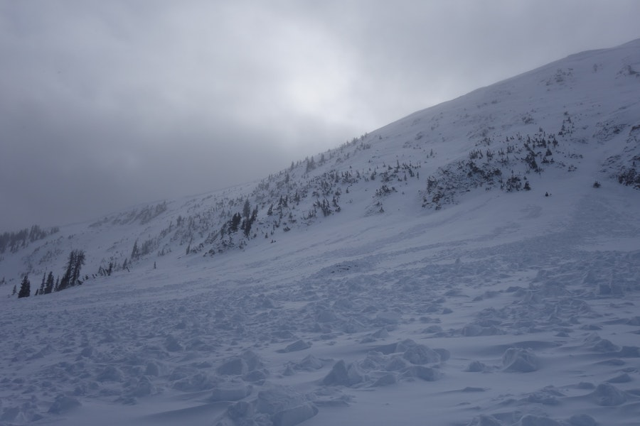 <b>Figure 5:</b> Looking across the debris pile to the south. The avalanche terminated at the cliff band on the left of the photograph. South Diamond Peak avalanche 12-24-2016 (<a href=javascript:void(0); onClick=win=window.open('https://caic-production.imgix.net/4cpgznxskx3mx9amkgcwwicwlem0?ixlib=php-3.1.0&s=57abd13781954c9f3f67d02fc22cc81c','caic_media','resizable=1,height=820,width=840,scrollbars=yes');win.focus();return false;>see full sized image</a>)