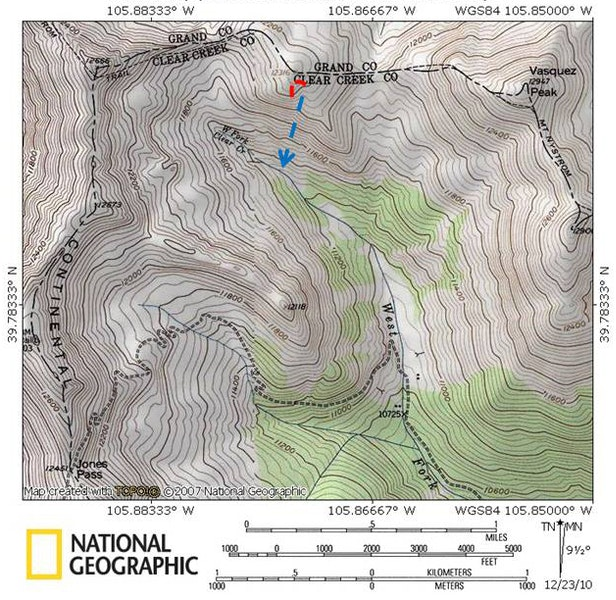 <b>Figure 1:</b> Topo map of the Jones Pass area. The dashed red line indicates the crown, and the blue line the direction the avalanche ran. (This report was originally published with an erroneous location.) (<a href=javascript:void(0); onClick=win=window.open('https://caic-production.imgix.net/4hgo4dzeeaopxgekdqlg8ir5gb6x?ixlib=php-3.1.0&s=41ff3736dfe3be9ab930c4e0514670ea','caic_media','resizable=1,height=820,width=840,scrollbars=yes');win.focus();return false;>see full sized image</a>)