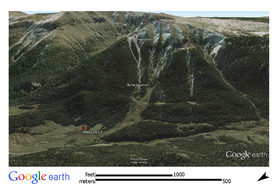 <b>Figure 3:</b> Accident site overview, from Google Earth. The approximate extent of the avalanche and important locations are marked. (<a href=javascript:void(0); onClick=win=window.open('https://caic-production.imgix.net/4kjso5mskc9zhkftxxde9p2m7a5q?ixlib=php-3.1.0&s=4ac2051d6b841fb41c6b7d88ce40cad8','caic_media','resizable=1,height=820,width=840,scrollbars=yes');win.focus();return false;>see full sized image</a>)