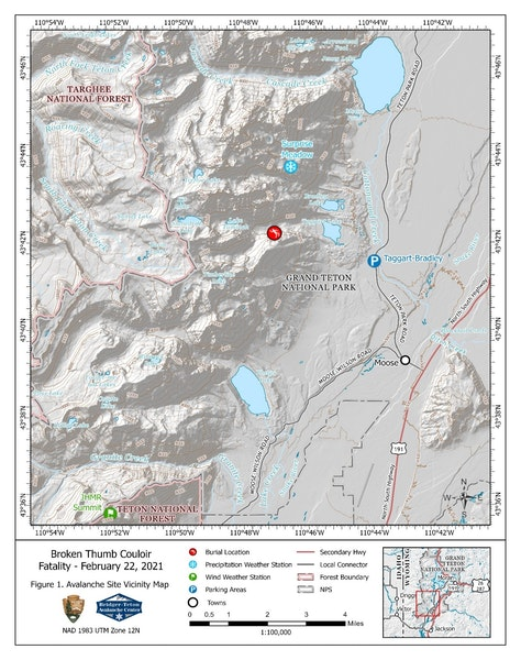 <b>Figure 1:</b> Accident Site Vicinity Map including the locations of the Summit wind station at 10,450 feet at JHMR just south of the park boundary and the location of Surprise Meadow snow station at 9,580 feet. The Surprise Pinnacle is not on the map but is located a few hundred feet above and to the southwest of the Surprise Meadow station. (<a href=javascript:void(0); onClick=win=window.open('https://caic-production.imgix.net/4w5n2pws6h6boswr7irly6xvwnb0?ixlib=php-3.1.0&s=92602af8e6076d8b3f3eca98c149dfdf','caic_media','resizable=1,height=820,width=840,scrollbars=yes');win.focus();return false;>see full sized image</a>)