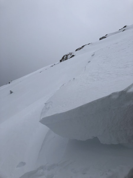 <b>Figure 2:</b> Looking across the crown face toward the south.The crown face varied in depth from about 1.5 feet deep on the lookers left to around 3 feet deep on the lookers right where this image was taken. Forecasters found multiple weak layers. (<a href=javascript:void(0); onClick=win=window.open('https://caic-production.imgix.net/5y25zwndoi480a2duu01tkcpcdku?ixlib=php-3.1.0&s=9b93a18840852b2fac082056c1578392','caic_media','resizable=1,height=820,width=840,scrollbars=yes');win.focus();return false;>see full sized image</a>)
