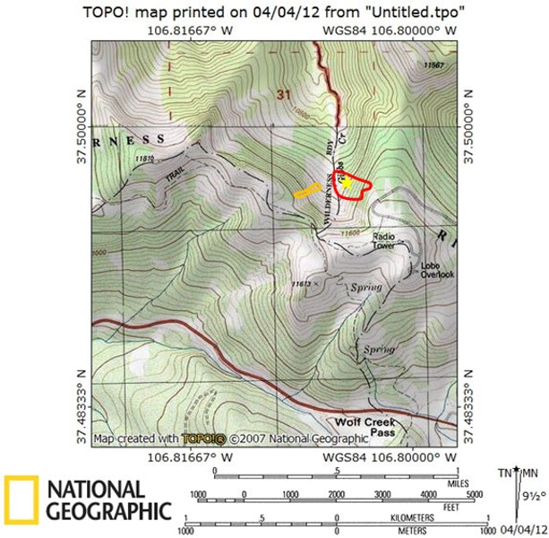 <b>Figure 1:</b> Topographic map of Gibbs Creek. The red line approximates the outline of the fatal avalanche. Skier 2 was buried near the yellow star. The orange line approximates the outline of the avalanche remotely triggered on 2/15. (<a href=javascript:void(0); onClick=win=window.open('https://caic-production.imgix.net/5zrypnl6k9prxb9eg66fhmv9zgtb?ixlib=php-3.1.0&s=f47dd96024f1be87749d486cc95e7499','caic_media','resizable=1,height=820,width=840,scrollbars=yes');win.focus();return false;>see full sized image</a>)