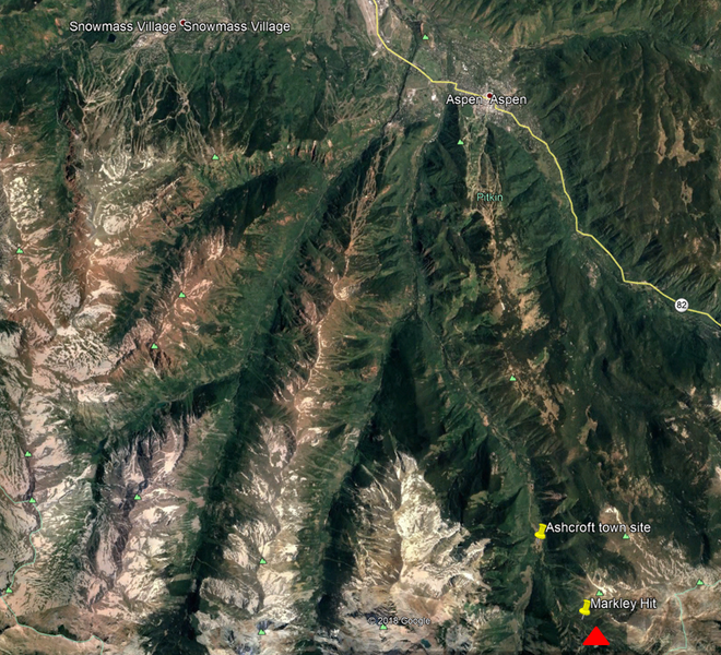 <b>Figure 1:</b> An overview of the area shown in Google Earth. The red triangle marks the approximate location of the avalanche accident. (<a href=javascript:void(0); onClick=win=window.open('https://caic-production.imgix.net/6igpsesyq4dos6ovlx34jnqn15im?ixlib=php-3.1.0&s=e7f267abcb8d77f87d0c3749a1e4ccbd','caic_media','resizable=1,height=820,width=840,scrollbars=yes');win.focus();return false;>see full sized image</a>)