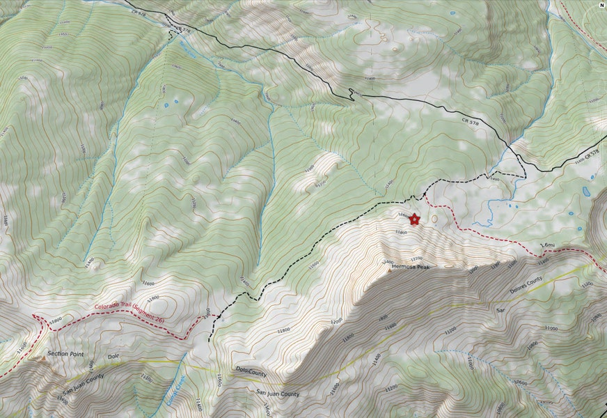 <b>Figure 2:</b> A topographic map of the area. The group accessed the area from Barlow Creek from the upper left side of the map. The red star on the northeast flank of Hermosa Peak marks the approximate location of the avalanche. (<a href=javascript:void(0); onClick=win=window.open('https://caic-production.imgix.net/6jxl2e7jnoz1m2ykswny4tsmsgxo?ixlib=php-3.1.0&s=1d27a926237e4056887084281912ab69','caic_media','resizable=1,height=820,width=840,scrollbars=yes');win.focus();return false;>see full sized image</a>)