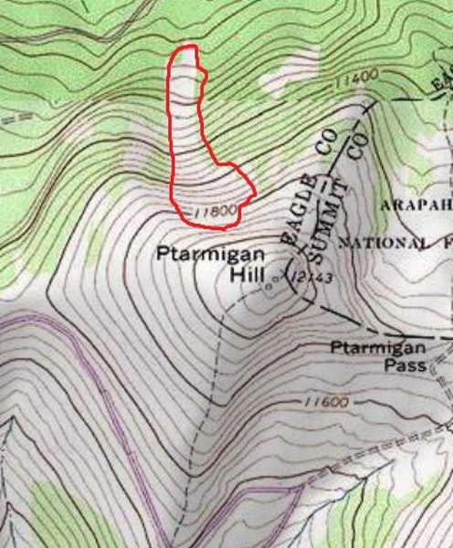 <b>Figure 3:</b> Map of the avalanche in an area known locally as Avy Bowl on the north side of Ptarmigan Hill. (<a href=javascript:void(0); onClick=win=window.open('https://caic-production.imgix.net/6m6tnshuitg8qkf9kf4tmw8ie10y?ixlib=php-3.1.0&s=ec0a1a437e7614074103a311f130ed1f','caic_media','resizable=1,height=820,width=840,scrollbars=yes');win.focus();return false;>see full sized image</a>)