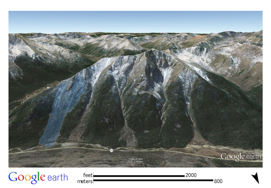 <b>Figure 3:</b> A Google Earth image of the north side of Star Mountain. The white polygon shows the approximate location and dimensions of the February 15th avalanche. (<a href=javascript:void(0); onClick=win=window.open('https://caic-production.imgix.net/6q3mo7hcyvhcr1t3qx9t50s8wbaa?ixlib=php-3.1.0&s=1917931a7fe0af385de2ea7e0b2b8422','caic_media','resizable=1,height=820,width=840,scrollbars=yes');win.focus();return false;>see full sized image</a>)