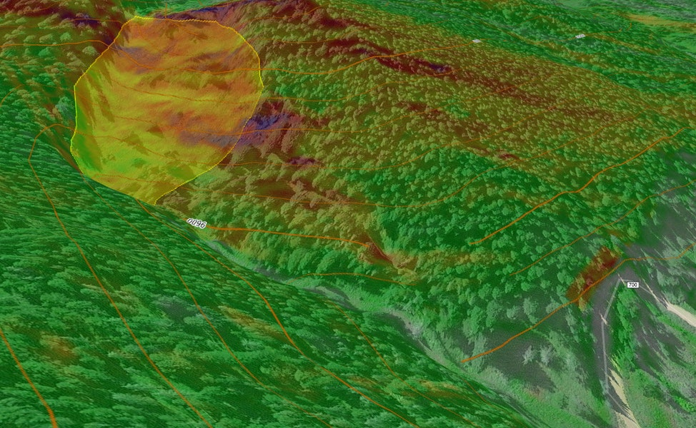 <b>Figure 8:</b> A Google Earth image of the accident site with 40 foot contours and slope shading from Caltopo.com (27-29 deg in yellow, 30-31 deg in light orange, 32-34 deg in orange, 35-45 deg in red, 46-50 deg in purple). The approximate boundaries of the avalanche are marked with the yellow polygon. (<a href=javascript:void(0); onClick=win=window.open('https://caic-production.imgix.net/6t2hzmo5co2wlyziygfvuv15p2hi?ixlib=php-3.1.0&s=84e750e31644936d21dbda4c4c37480b','caic_media','resizable=1,height=820,width=840,scrollbars=yes');win.focus();return false;>see full sized image</a>)