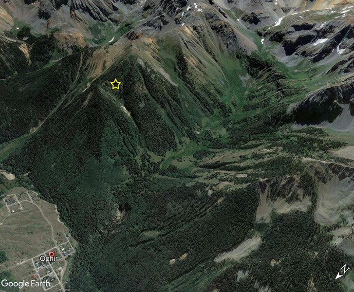 <b>Figure 1:</b> A Google Earth image looking southeast over Ophir into Waterfall canyon. The avalanche site is marked with a yellow star. (<a href=javascript:void(0); onClick=win=window.open('https://caic-production.imgix.net/81g8acz8y8vezzm1sk28exa9mg5n?ixlib=php-3.1.0&s=672ec50ae52ba9ce506acf9a8e5d9d23','caic_media','resizable=1,height=820,width=840,scrollbars=yes');win.focus();return false;>see full sized image</a>)