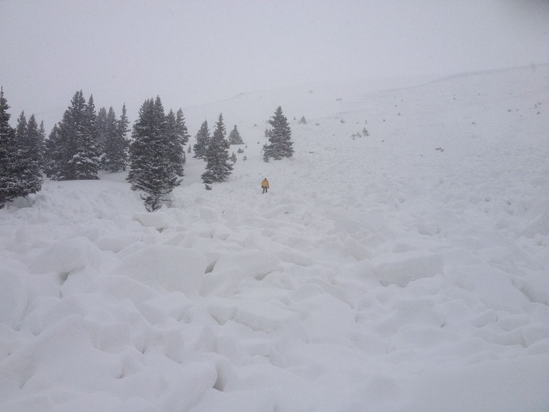 <b>Figure 3:</b> Eastern flank of the avalanche. Evening snowfall covered the bare ground in the starting zone. (<a href=javascript:void(0); onClick=win=window.open('https://caic-production.imgix.net/84a7rkitz2iacwov4p1rl78l7pd0?ixlib=php-3.1.0&s=b0f5618e162c7ad090ad5cdbc9804bde','caic_media','resizable=1,height=820,width=840,scrollbars=yes');win.focus();return false;>see full sized image</a>)