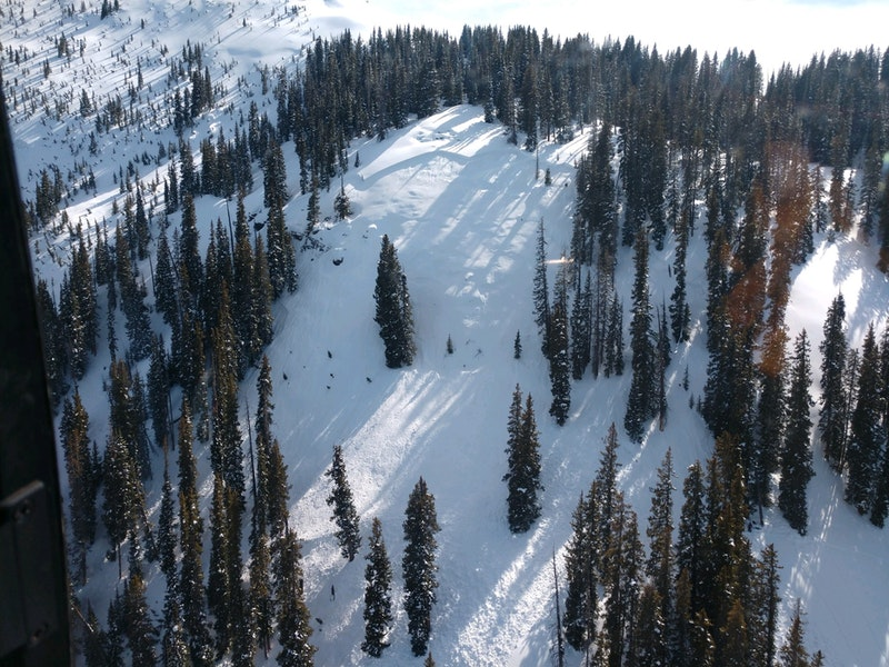 <b>Figure 2:</b> Looking down at the crown line and steep slope where an skier was injured by an avalanche near rico Colorado on March 31, 2020. Image courtesy San Miguel County SAR. (<a href=javascript:void(0); onClick=win=window.open('https://caic-production.imgix.net/8f20z5vdk3i31ypbemk9tyfz102g?ixlib=php-3.1.0&s=7cfb5a204106bc0d3c7118949bb6e0cb','caic_media','resizable=1,height=820,width=840,scrollbars=yes');win.focus();return false;>see full sized image</a>)