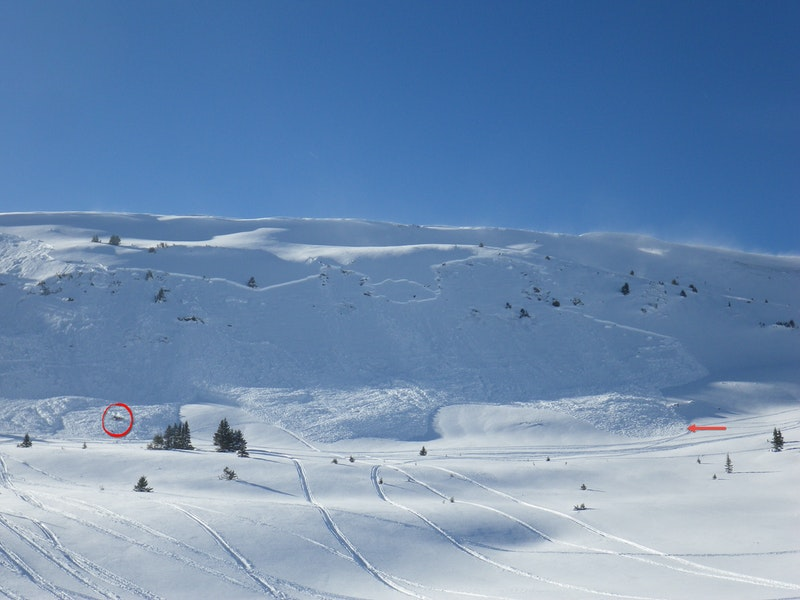 <b>Figure 3:</b> Looking at the northern side of the avalanche. The arrow marks Rider 1's track and direction of travel. The circle marks the burial site. (<a href=javascript:void(0); onClick=win=window.open('https://caic-production.imgix.net/8ulora7k728m4nnprmf3nwe7t3fq?ixlib=php-3.1.0&s=10afdbeafdd942c7ffbaef5a1d927675','caic_media','resizable=1,height=820,width=840,scrollbars=yes');win.focus();return false;>see full sized image</a>)