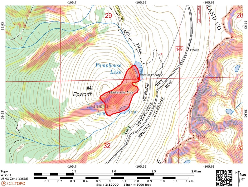 <b>Figure 3:</b> A topographic map of the accident site. Slope angles are shaded in Caltopo fixed bins (27-29 deg in yellow, 30-31 deg in light orange, 32-34 deg in orange, 35-45 deg in red, 46-50 deg in purple). The approximate boundaries of the avalanche are marked by the red polygon. Investigators used images taken on February 14 and 16 and provided by GCSAR members to estimate avalanche dimensions. (<a href=javascript:void(0); onClick=win=window.open('https://caic-production.imgix.net/9l8znipzj25is2twd8z91wn1cm95?ixlib=php-3.1.0&s=b31038ae7ec95e8048e17483cfb325a8','caic_media','resizable=1,height=820,width=840,scrollbars=yes');win.focus();return false;>see full sized image</a>)