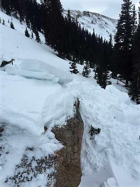 <b>Figure 3:</b> Hard blocks of debris from a Wind Slab avalanche triggered on a northwest aspect below Taylor Pass. Dec 21, 2018 (<a href=javascript:void(0); onClick=win=window.open('https://caic-production.imgix.net/a5odm8gifsysm8pwk2k716o65mbe?ixlib=php-3.1.0&s=47d26475bb144768921e1a10898e73e2','caic_media','resizable=1,height=820,width=840,scrollbars=yes');win.focus();return false;>see full sized image</a>)
