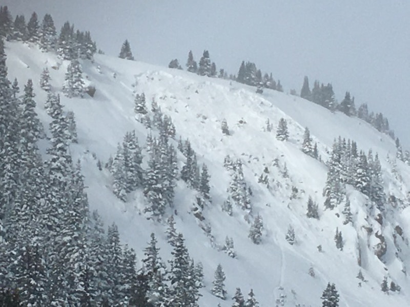 <b>Figure 1:</b> This is a skier triggered avalanche on Berthoud Pass in the Front Range zone on 12-11-2016. This was the group's second lap on the same slope. The first rider skied the path without incident. The second rider made three to four turns and the slope released. The skier was able to exit the avalanche without injury. The avalanche is classified as SS-ASu-R2-D2-G. (<a href=javascript:void(0); onClick=win=window.open('https://caic-production.imgix.net/a64t07iwgxygkomsqg1kragqrcu2?ixlib=php-3.1.0&s=656dc8b8a004cffe3f24017b01724815','caic_media','resizable=1,height=820,width=840,scrollbars=yes');win.focus();return false;>see full sized image</a>)