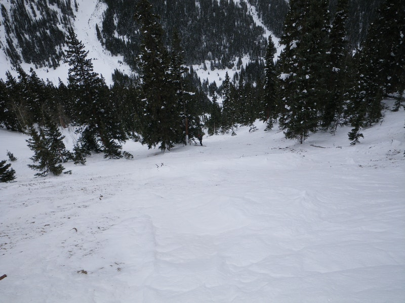 <b>Figure 8:</b> Looking down the bed surface into the track of the avalanche path. (<a href=javascript:void(0); onClick=win=window.open('https://caic-production.imgix.net/acpk09kqy040x26u7cj6l2cecilt?ixlib=php-3.1.0&s=c1605ac85d2efb9329e977f955174ace','caic_media','resizable=1,height=820,width=840,scrollbars=yes');win.focus();return false;>see full sized image</a>)