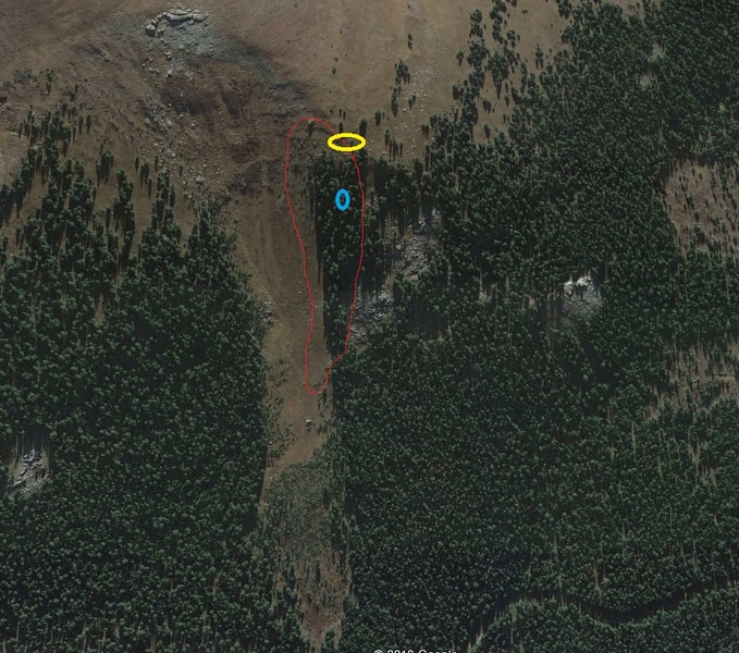 <b>Figure 7:</b> In this Google Earth image the yellow oval indicates where Riders 3 and 4 entered the path. The blue oval indicates where Rider 4 was found. The red line shows the area of the avalanche. (<a href=javascript:void(0); onClick=win=window.open('https://caic-production.imgix.net/ajlzuvnhttl7ijhi689bth1509bs?ixlib=php-3.1.0&s=d1bb0b5eb43a7fb9d13750560af8c586','caic_media','resizable=1,height=820,width=840,scrollbars=yes');win.focus();return false;>see full sized image</a>)
