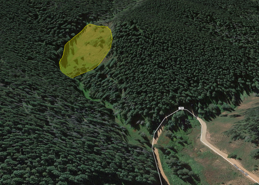 <b>Figure 2:</b> A Google Earth image of the accident site looking towards the southwest. The hairpin turn in USFS Rd 700 is in the lower right corner of the map. The approximate boundaries of the avalanche are marked with the yellow polygon. (<a href=javascript:void(0); onClick=win=window.open('https://caic-production.imgix.net/aqmgnkkvq4dff4fuvmhziw6e5w5x?ixlib=php-3.1.0&s=f6cb3f1d1d8aba071f960ac003c8664a','caic_media','resizable=1,height=820,width=840,scrollbars=yes');win.focus();return false;>see full sized image</a>)