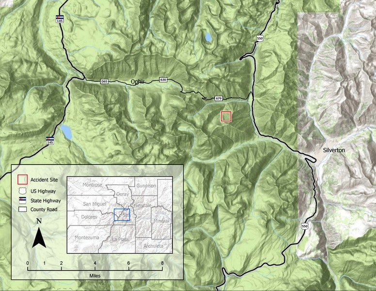 <b>Figure 1:</b> A map of the area between the towns of Ophir and Silverton. The accident site is marked by the red box. (<a href=javascript:void(0); onClick=win=window.open('https://caic-production.imgix.net/atob8ky5ism3qn5nxj52lrfwk9xb?ixlib=php-3.1.0&s=1c64099433a95aecca7916bc76b9d99d','caic_media','resizable=1,height=820,width=840,scrollbars=yes');win.focus();return false;>see full sized image</a>)