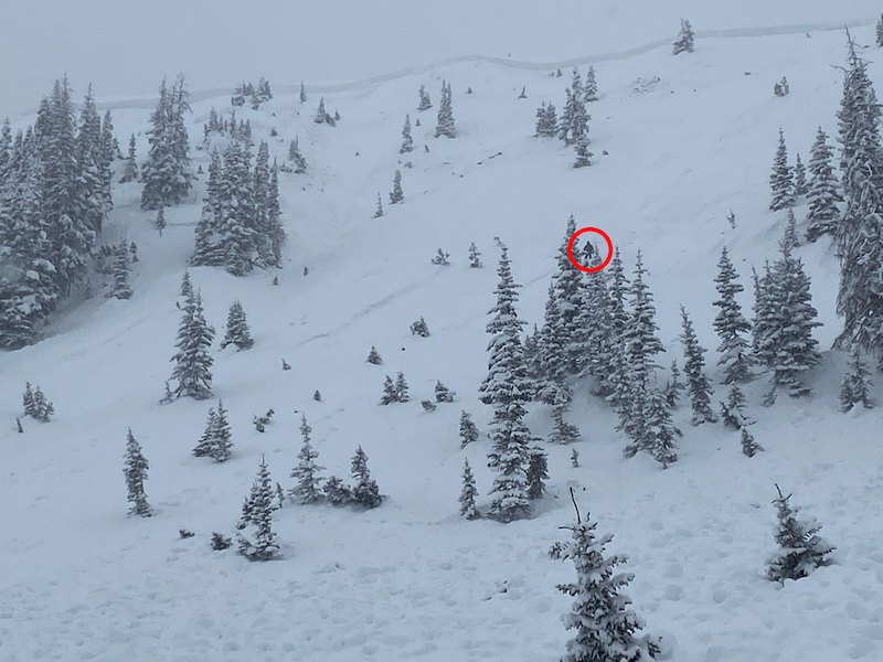 <b>Figure 11:</b> Looking up the avalanche path from near the burial location. The red circle highlights a CAIC forecaster near Rider 1's last seen point and likely trigger point. (<a href=javascript:void(0); onClick=win=window.open('https://caic-production.imgix.net/att7yowb2lwj31j8wzu5k8qoz0wi?ixlib=php-3.1.0&s=a3ef760db61dc6862b5b03ec607c5a33','caic_media','resizable=1,height=820,width=840,scrollbars=yes');win.focus();return false;>see full sized image</a>)