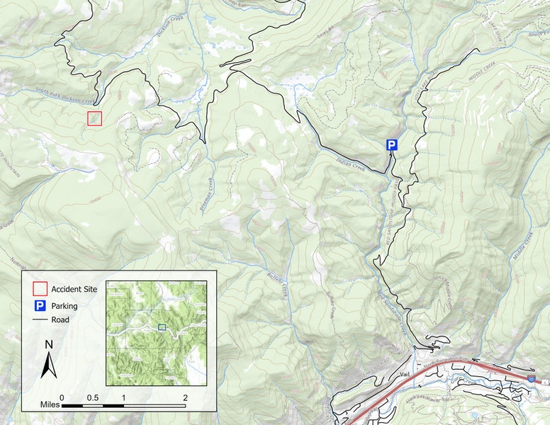 <b>Figure 1:</b> A topographic map of the accident area. The accident site is marked with a red square. The Red Sandstone trailhead is marked with the parking sign. Interstate 70 and the town of Vail are in the lower right corner of the map. (<a href=javascript:void(0); onClick=win=window.open('https://caic-production.imgix.net/bd46fkz23v4s0om626x28uagtk25?ixlib=php-3.1.0&s=83bc5dce49c10bca5af755172c346237','caic_media','resizable=1,height=820,width=840,scrollbars=yes');win.focus();return false;>see full sized image</a>)