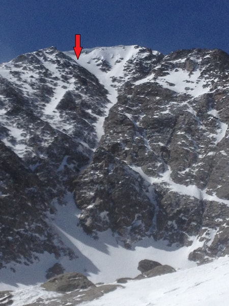 <b>Figure 2:</b> The slide path; the avalanche  started near where the red arrow is pointing (<a href=javascript:void(0); onClick=win=window.open('https://caic-production.imgix.net/cbeomfpchnnwjbur26y5tf9i2zpu?ixlib=php-3.1.0&s=96f4641290c095c72cfc169d4237a392','caic_media','resizable=1,height=820,width=840,scrollbars=yes');win.focus();return false;>see full sized image</a>)