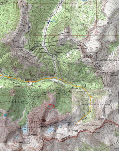 <b>Figure 9:</b> A topographic map of the northern Never Summer Mountains and Cameron Pass area. The red circle shows the accident site. The locations of the Joe Wright SNOTEL and Cameron Pass weather stations are shown with blue circles. The orange path is a groomed snowmobile track. (<a href=javascript:void(0); onClick=win=window.open('https://caic-production.imgix.net/cqjwzsuxe40xjjc8ppg2fqjc0fiq?ixlib=php-3.1.0&s=0d38664814a69ff3c4863d1e5449fb91','caic_media','resizable=1,height=820,width=840,scrollbars=yes');win.focus();return false;>see full sized image</a>)