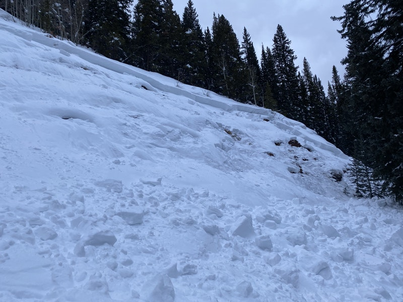 <b>Figure 7:</b> Looking up at the northern part of the avalanche area. Small rock outcroppings are visible in the bed surface. Image courtesy of Hunter Schleper. (<a href=javascript:void(0); onClick=win=window.open('https://caic-production.imgix.net/cyqn6gya3qoops6il7qzbfwn2d5u?ixlib=php-3.1.0&s=a54ca7f5001fca537d90fd12a498feea','caic_media','resizable=1,height=820,width=840,scrollbars=yes');win.focus();return false;>see full sized image</a>)