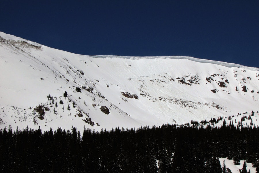 <b>Figure 1:</b> Cornice fall triggered avalanche on the Stanley Headwall near Berthoud Pass.  Photo taken on May 3, 2019. (<a href=javascript:void(0); onClick=win=window.open('https://caic-production.imgix.net/d47tlxj11yg4e2uhubooz36tq8ry?ixlib=php-3.1.0&s=96999013e6b2eaf119fdfbfc63c6e853','caic_media','resizable=1,height=820,width=840,scrollbars=yes');win.focus();return false;>see full sized image</a>)
