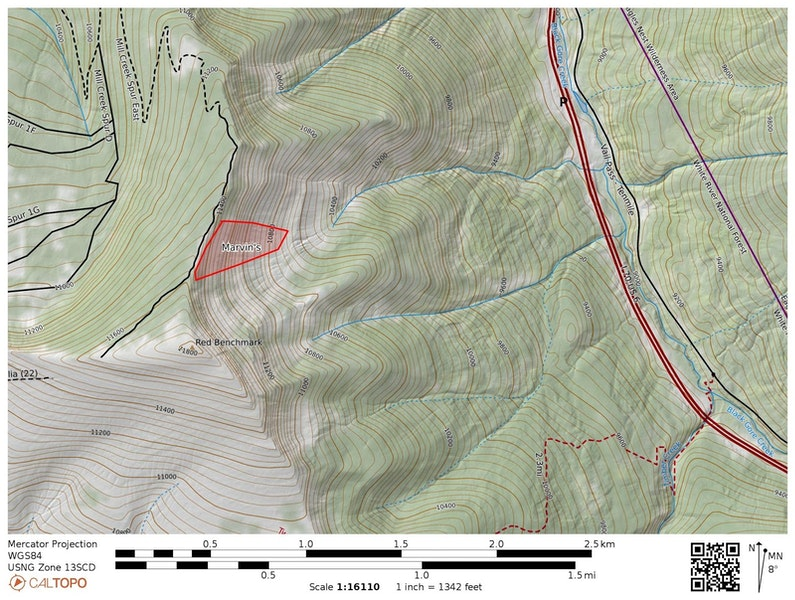 <b>Figure 1:</b> A CalTopo image of the accident site. The red polygon shows the approximate location of the avalanche. (<a href=javascript:void(0); onClick=win=window.open('https://caic-production.imgix.net/dbm6j35gnsifujpvgnts88un383x?ixlib=php-3.1.0&s=b8dd96bada58d42194b61624c0feb605','caic_media','resizable=1,height=820,width=840,scrollbars=yes');win.focus();return false;>see full sized image</a>)