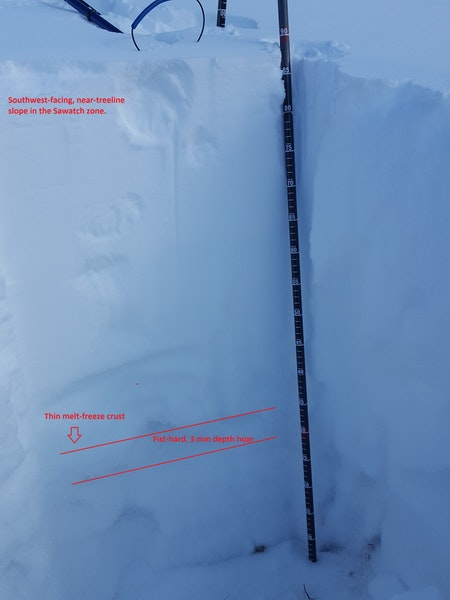 <b>Figure 4:</b> A quick snowpit on a cold day. Very weak depth hoar beneath a crust on a southwest-facing near-treeline slope. (<a href=javascript:void(0); onClick=win=window.open('https://caic-production.imgix.net/dc9zb9gmniuqu3gkmh69lhbqmjos?ixlib=php-3.1.0&s=0c56a2949d351144e6fe67e0e5d84e3b','caic_media','resizable=1,height=820,width=840,scrollbars=yes');win.focus();return false;>see full sized image</a>)