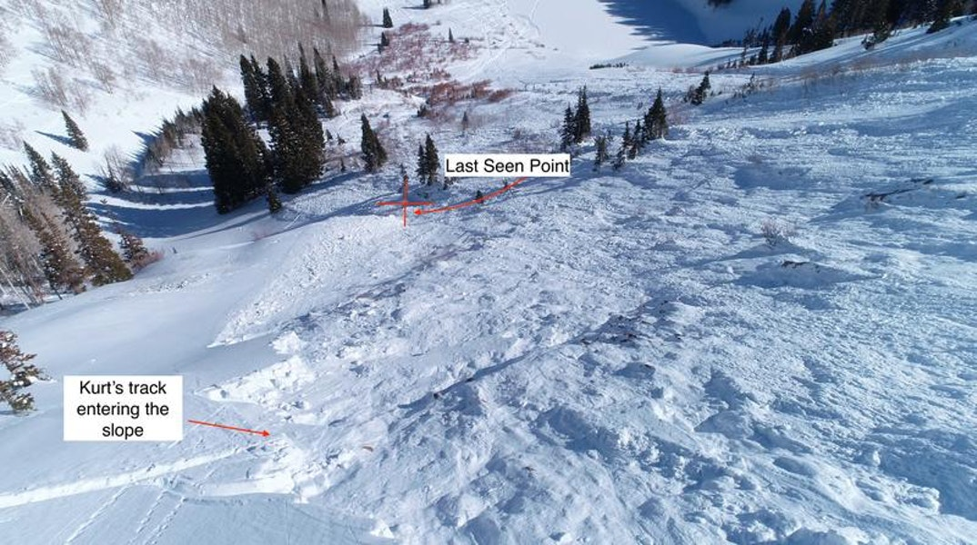 <b>Figure 4:</b> View from the avalanche crown face with the location where the partner last saw Skier 1. The last seen point is important to note during a rescue because it narrows the search area as the victim will only be below that point. (<a href=javascript:void(0); onClick=win=window.open('https://caic-production.imgix.net/dgzd3pijsj2wbn729r0syzozwzub?ixlib=php-3.1.0&s=bd84fd8de6479104ddad0c967c115657','caic_media','resizable=1,height=820,width=840,scrollbars=yes');win.focus();return false;>see full sized image</a>)