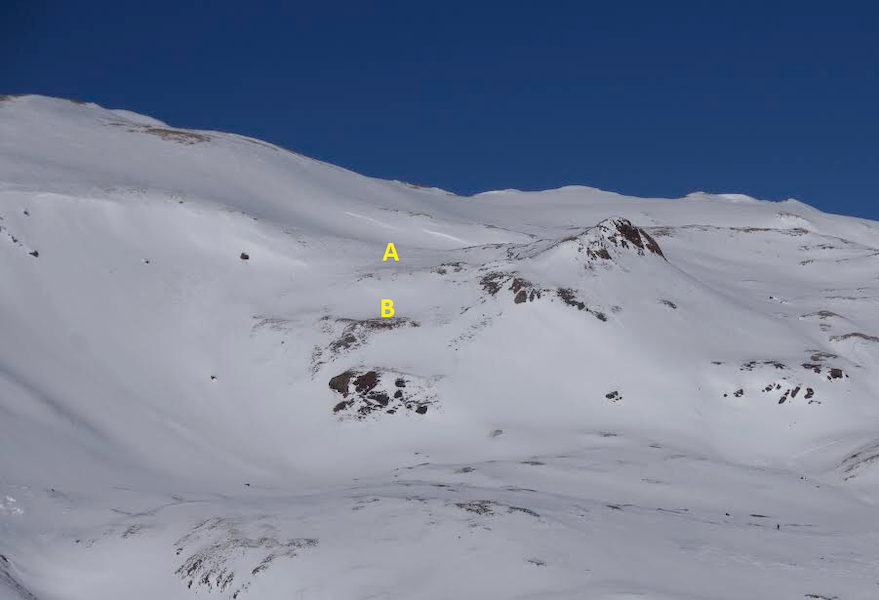 <b>Figure 17:</b> An overview of the accident site. The yellow A marks the approximate location where the group collected before their descent. The yellow B marks the location of the bench they were descending to. This image was taken in December of 2018. (<a href=javascript:void(0); onClick=win=window.open('https://caic-production.imgix.net/e7l20eqc4utr07c21mkikds4wye1?ixlib=php-3.1.0&s=4ff3b91547d9eb81d22a1d04867bbb30','caic_media','resizable=1,height=820,width=840,scrollbars=yes');win.focus();return false;>see full sized image</a>)