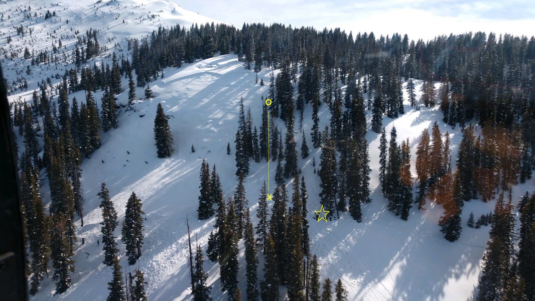 <b>Figure 3:</b> An aerial view of the accident site from the rescue helicopter. The O indicates the location of Rider 1 when he triggered the avalanche, the X where he came to rest, and the yellow star marks where Rider 3 moved Rider 1 for first aid. (<a href=javascript:void(0); onClick=win=window.open('https://caic-production.imgix.net/ejdg72zey0r98ysdbigzcls4wdkh?ixlib=php-3.1.0&s=9b7b2225575f8f32f512a4b79b5d523a','caic_media','resizable=1,height=820,width=840,scrollbars=yes');win.focus();return false;>see full sized image</a>)