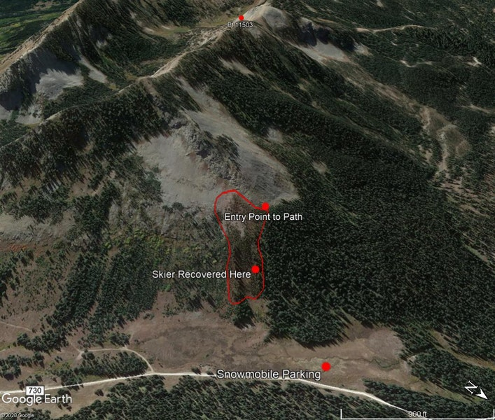 <b>Figure 2:</b> A Google Earth image showing the approximate extent of the avalanche, the entry point to the slope that several skiers including Skier 1 used, and where Skier 1 was recovered. (<a href=javascript:void(0); onClick=win=window.open('https://caic-production.imgix.net/f1cydbap9r121cu8xjr1bu82sjc3?ixlib=php-3.1.0&s=1a3e18d74134edfa97643012b37fe07f','caic_media','resizable=1,height=820,width=840,scrollbars=yes');win.focus();return false;>see full sized image</a>)