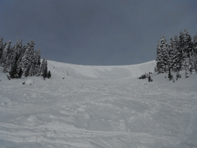 <b>Figure 3:</b> Looking uphill towards the start zone. The two avalanches are visible on either side of the image. (<a href=javascript:void(0); onClick=win=window.open('https://caic-production.imgix.net/f9y82vbu6ddh4azk32p405eb11f5?ixlib=php-3.1.0&s=4edba113311d4f1d11a9e17f6ac725e2','caic_media','resizable=1,height=820,width=840,scrollbars=yes');win.focus();return false;>see full sized image</a>)
