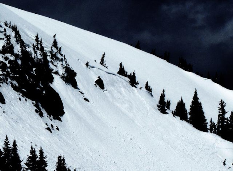 """<b>Figure 3:</b> Nitro, an East aspect, triggered by a snowboarder, who was carried in the slide the whole way but ended up on the surface and appeared, from the distance, to be fine.  It happened at 9:15 am.  The rest of the numbers are just my best guess.  50 foot wide crown.  Crown maybe 18"""" deep.  It slid 150' vertical.  Started at roughly 11,600'.  R2-D2. (<a href=javascript:void(0); onClick=win=window.open('https://caic-production.imgix.net/fllcljjfq0uh0dwvl3j2jui1w11n?ixlib=php-3.1.0&s=0f003acd9c43f3b67d83e0a0920a44cf','caic_media','resizable=1,height=820,width=840,scrollbars=yes');win.focus();return false;>see full sized image</a>)"""