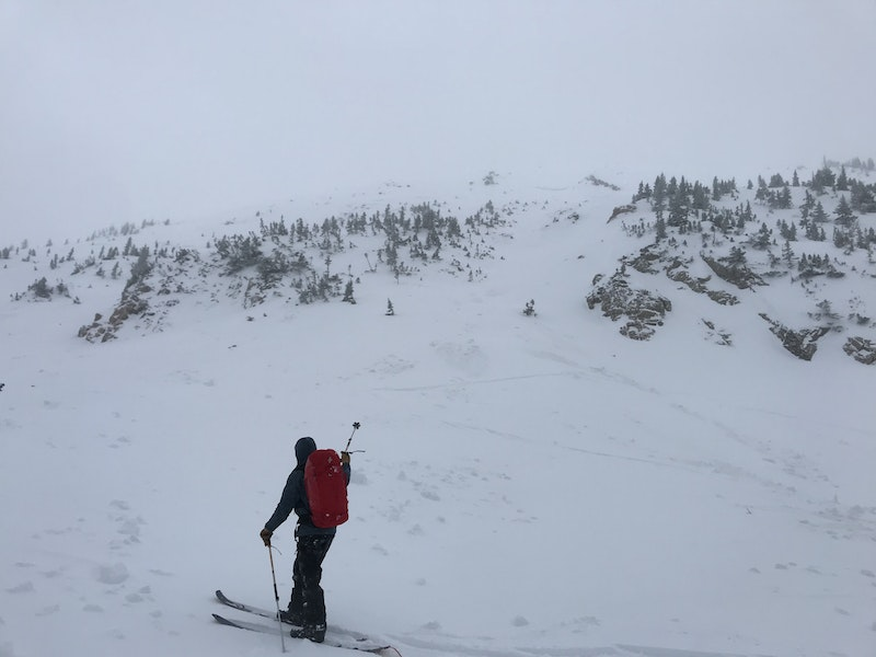 <b>Figure 3:</b> Looking up the avalanche path from the toe of the debris. The CAIC investigator is pointing towards the gully where Skier 2 triggered the avalanche. The deepest part of the crown face was near the rocks at the top of the gully. The avalanche was approximately 375 feet wide and ran about 420 vertical feet. (<a href=javascript:void(0); onClick=win=window.open('https://caic-production.imgix.net/fp3dvaejy4sy5igi933lrjj2zl3h?ixlib=php-3.1.0&s=30e1e372a3eca62f28cf7561839fd6c9','caic_media','resizable=1,height=820,width=840,scrollbars=yes');win.focus();return false;>see full sized image</a>)