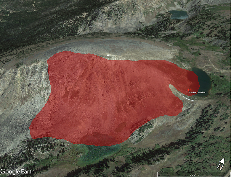 <b>Figure 2:</b> A Google Earth image with the approximate extent of the avalanche outlined in red. Investigators used images taken on February 14 and 16 and provided by GCSAR members to estimate avalanche dimensions. (<a href=javascript:void(0); onClick=win=window.open('https://caic-production.imgix.net/fr1j7t9tjkv4bh2ht7qmhl3cevnv?ixlib=php-3.1.0&s=82ace2cd6c50a98dcfc147d20d9ca274','caic_media','resizable=1,height=820,width=840,scrollbars=yes');win.focus();return false;>see full sized image</a>)