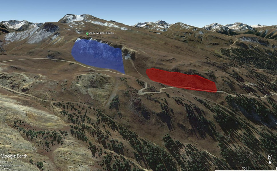<b>Figure 1:</b> A Google Earth image looking south. Two snowshoers triggered and were caught in an avalanche shaded in red. They also triggered a sympathetic avalanche, shaded in blue. (<a href=javascript:void(0); onClick=win=window.open('https://caic-production.imgix.net/fv53o46wydy0t9deai86kmukbifx?ixlib=php-3.1.0&s=2dfeb8060311b891d7c32eeeb1537bc3','caic_media','resizable=1,height=820,width=840,scrollbars=yes');win.focus();return false;>see full sized image</a>)