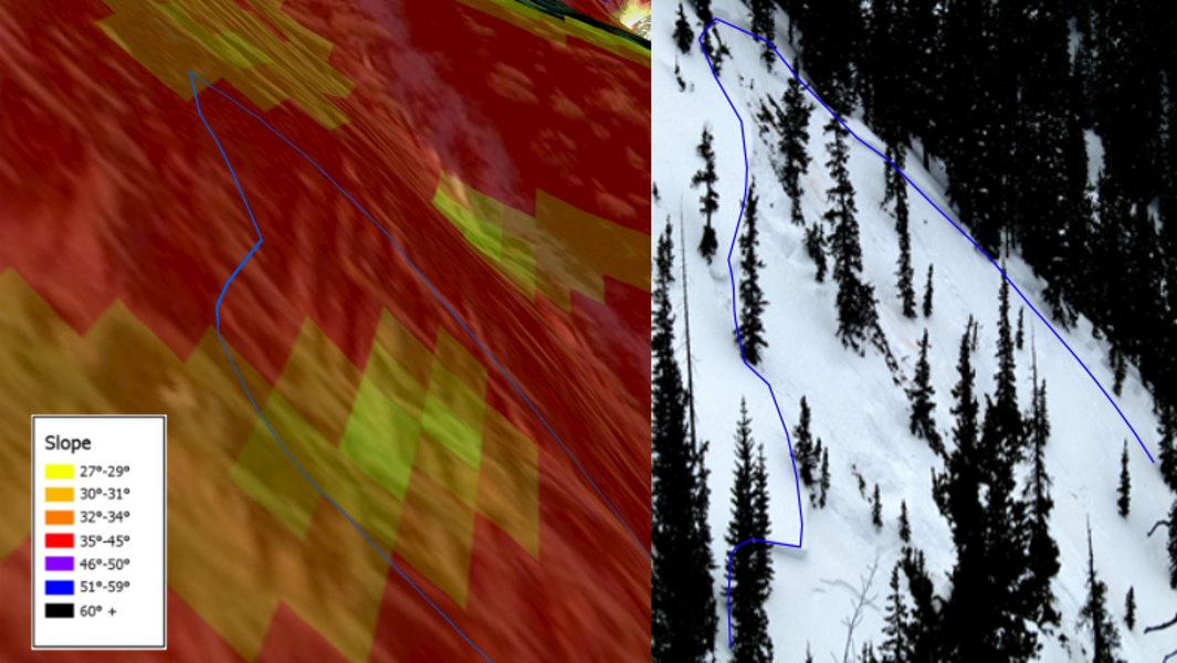 <b>Figure 3:</b> A digital elevation model with slope angle shading (left) and an image of the slope (right). The avalanche crown face is indicated in blue on both images. Rider 1 triggered the avalanche on a west-northwest facing slope around 40 degrees in steepness. (<a href=javascript:void(0); onClick=win=window.open('https://caic-production.imgix.net/fy1vsajpe5hhoqa9npc428kf46pu?ixlib=php-3.1.0&s=a8e2da4b035510a8ba7f0db9fbc447e6','caic_media','resizable=1,height=820,width=840,scrollbars=yes');win.focus();return false;>see full sized image</a>)