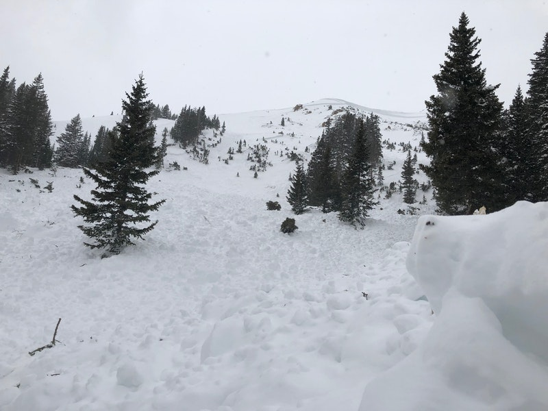 <b>Figure 3:</b> This avalanche broke well over 10 feet deep, is almost 2,000 feet across and ran 1,000 vertical feet, almost as far down slope as it possibly could. This is a very large, very destructive avalanche. (<a href=javascript:void(0); onClick=win=window.open('https://caic-production.imgix.net/g63gp86wzwixw3j4y58usw0q8vx0?ixlib=php-3.1.0&s=bb14ed8257f6c478ebd15b946aafb600','caic_media','resizable=1,height=820,width=840,scrollbars=yes');win.focus();return false;>see full sized image</a>)