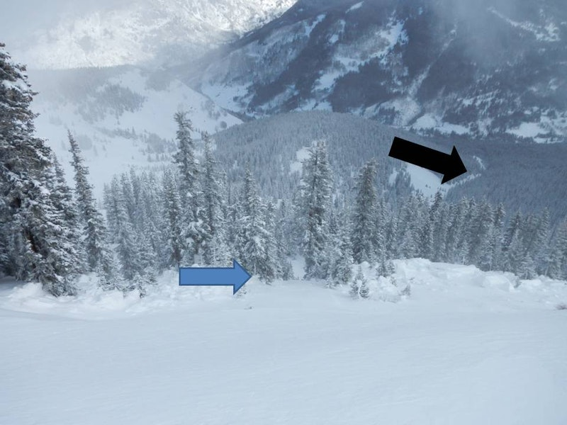 <b>Figure 11:</b> Photo taken about 30 feet above the crown. Rider 3 and 4 entered the path from near this location.  Blue arrow points to approximate area where Rider 1 & 3 were standing when the avalanche released. The black arrow points to the toe of the debris from the slide. (<a href=javascript:void(0); onClick=win=window.open('https://caic-production.imgix.net/gnfddpnd9bgdqxbn4v3n6iyik2zr?ixlib=php-3.1.0&s=0c01bb94dad36a9ac46f30d7b08d92fc','caic_media','resizable=1,height=820,width=840,scrollbars=yes');win.focus();return false;>see full sized image</a>)